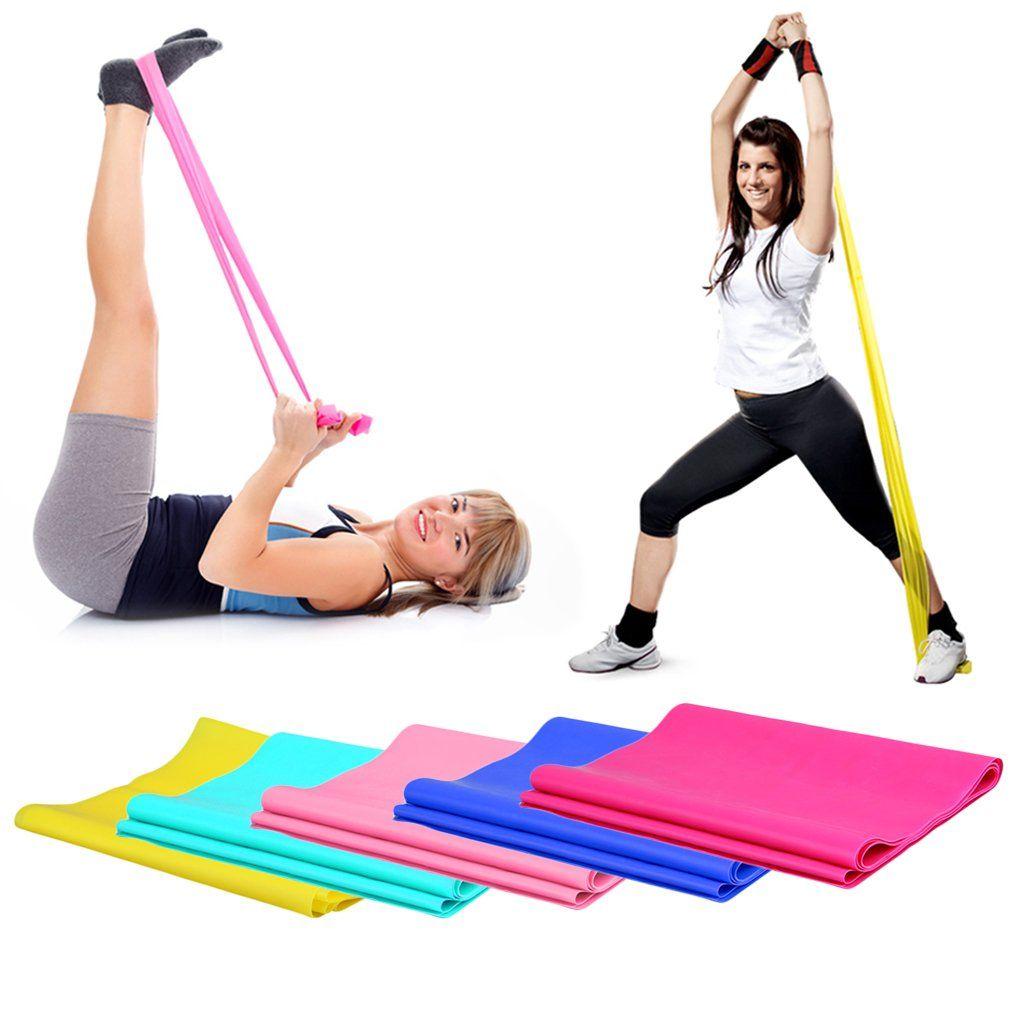 1 2m Elastic Yoga Pilates Rubber Stretch Exercise Band Arm Back