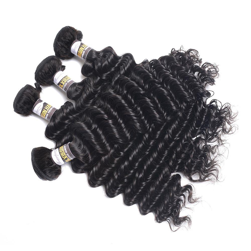"""10a منتجات الشعر موجة عميقة الهندي موجة عميقة 100 ٪ الانسان الشعر حزم 8 """"-28"""" اللون الطبيعي 3PC ريمي الشعر شحن مجاني"""