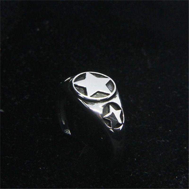 Il trasporto libero 925 d'argento polacco Pentagram dell'anello di modo Size Jewelry 6-10 signora Girls Biker Style Anello