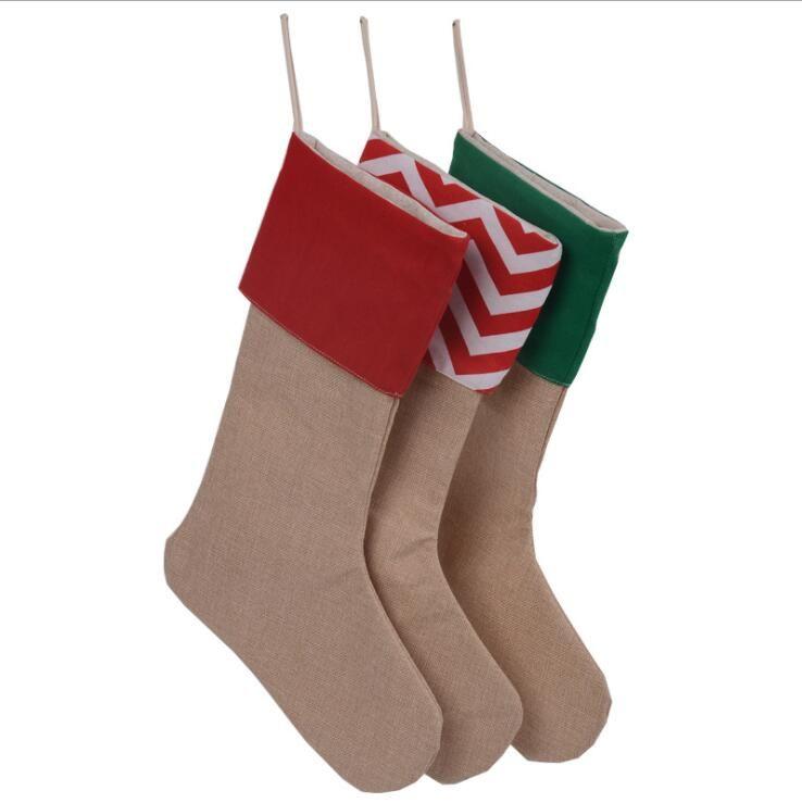 Neue Leinwand Weihnachtsstrumpf Geschenk Taschen Leinwand Weihnachten Weihnachtsstrumpf Große Größe Plain Sackleinen dekorative Socken Taschen Kinder Geschenktüte