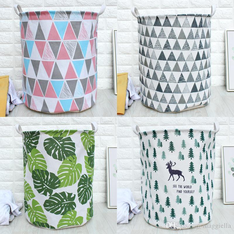 3pcs/lot Nordic Style Cotton Linen Fabric Laundry Basket Washing Hamper Fold Household Sundries Organizer Pouch 40*50cm