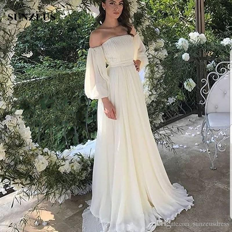 Vestiti Da Sposa For You.Discount Off Shoulder Long Sleeve Wedding Dress Boat Neck A Line