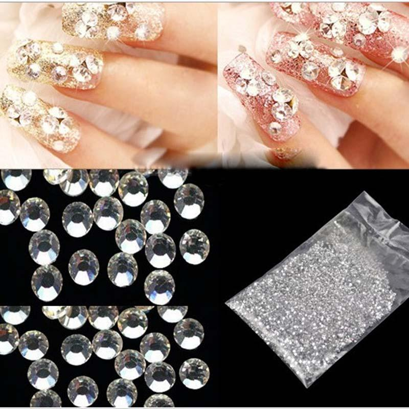 CRYSTAL 2mm QUALITY ACRYLIC SHINNY RHINESTONES DIAMANTE GEMS FOR NAIL ART