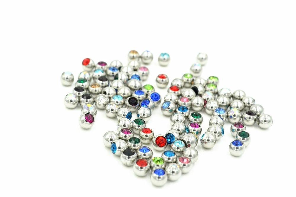 Freies Shippment 100pcs / Lot Kristalledelstein-Kugel-Wiedereinbau-Körper-Durchdringen-Schmucksache-Zusätze für Lippenaugenbrauen-Zungen-Nabel-Durchdringen
