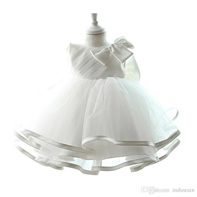 Compre Vestido De Bautizo Infantil Para Bebés 2018 Niñas Recién Nacidas Vestido De Bautismo De Cumpleaños De 1 Año Vestido De Fiesta De Tul Para Niñas