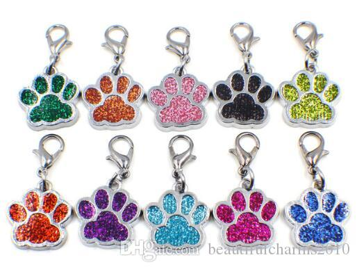 50pcs / lot Bling Hund Bärentatze Fußabdruck mit Hummer-Haken-DIY hängen hängenden Charme für Schlüsselanhänger Halskette Beutelherstellung passen