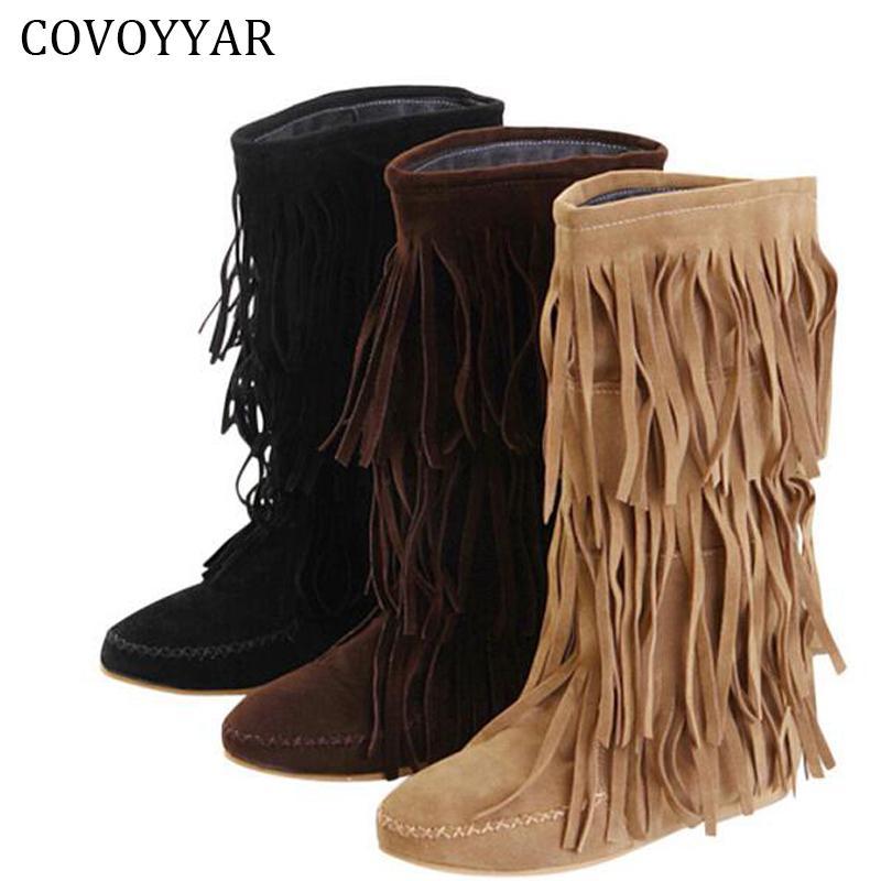 Covoyyar Plus Hot Von Stiefel Damen Wbs16 Großhandel Niedrige 43 Quaste Größe Fransen Mokassin Waden 3 35 ~ Ferse Flache Schichten 2018 n0wNvm8