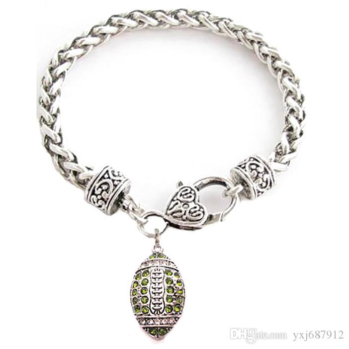 Sport Style Rhodium Plated Zinc Studded With Sparkling Crystal FOOTBALL Multi-Color Pendant Wheat Chain Bracelet For Souvenirs