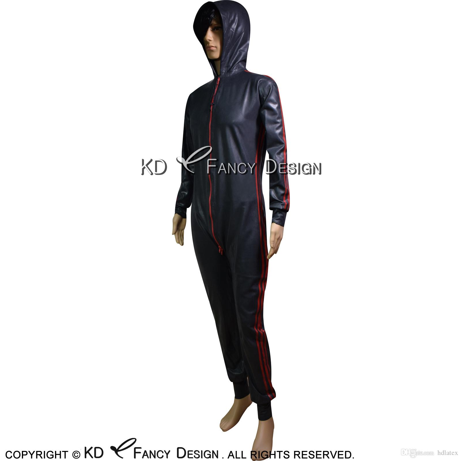 New 100/% Rubber Latex Sports Catsuit Black with Red Spider man Bodysuit S-XXL