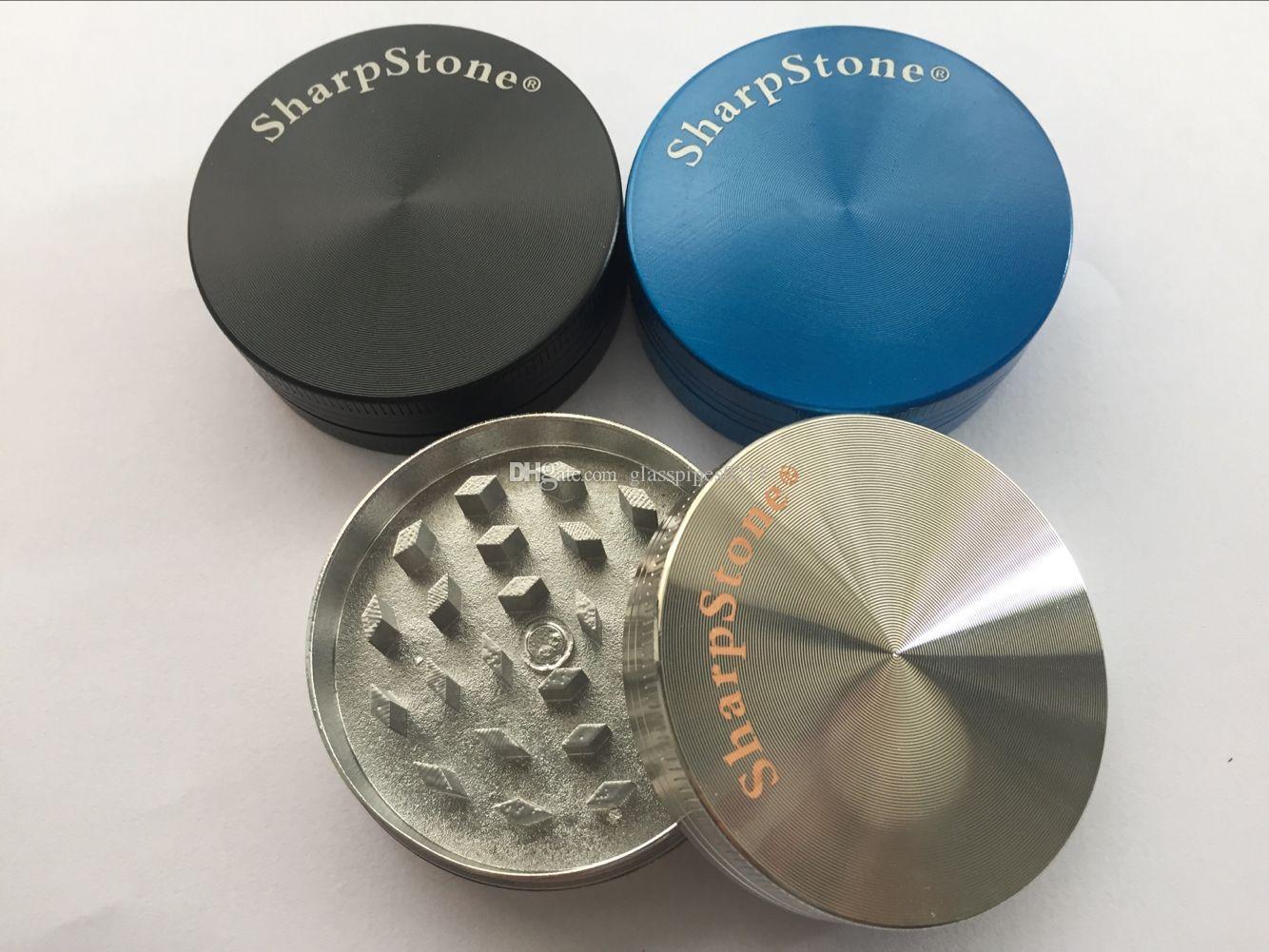 Alta qualidade Mais Novo Fumar Tabaco Grinders Dry Herb Moedor De Metal Tubo 2 Peças 50mm Diametre SharpStone Grinders 2 Camadas