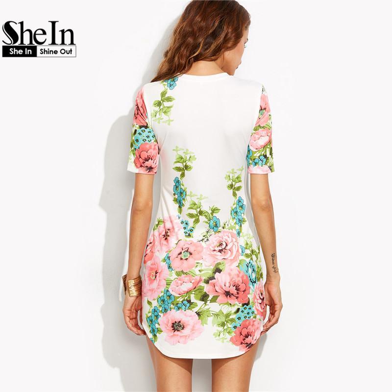 gama muy codiciada de nuevas imágenes de talla 7 Compre Shein Vestidos Elegantes Para Mujer Estilo De Verano Para Mujer Con  Estampado Floral Multicolor Cuello Redondo Manga Corta Vestido Ajustado A  ...