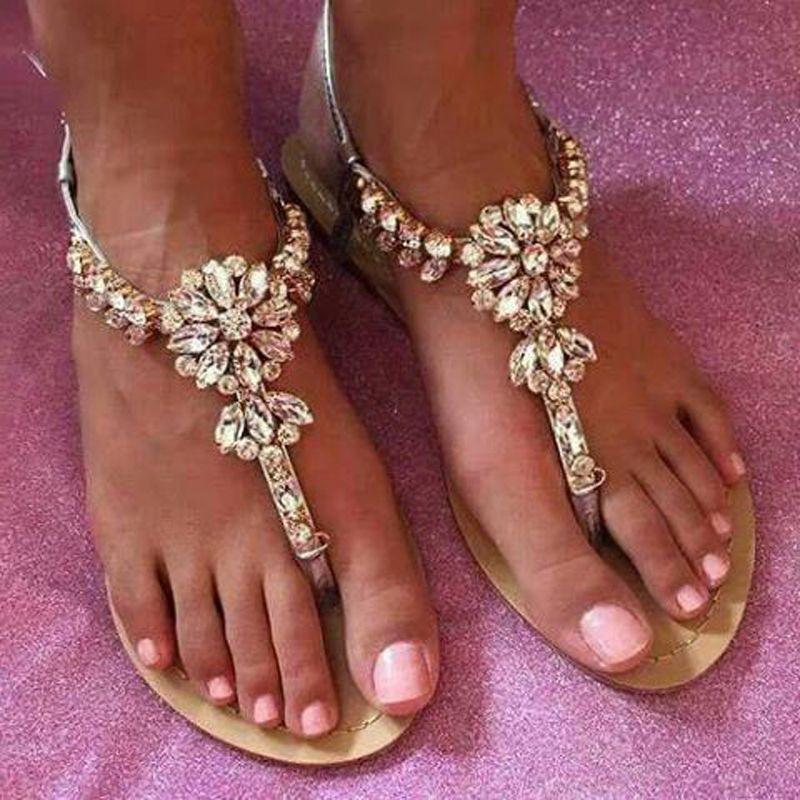Zandina 2018 Senhoras Handmade Sandálias Flat T-strap Corda Beading Sapatos de Verão Rhinstones Partido Prom Moda Sapatos Casuais A081