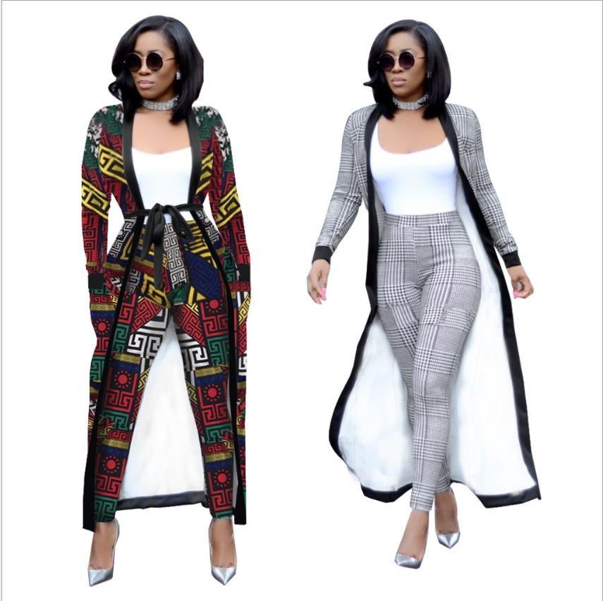 2018 новый африканский свободный размер мода полосатый Широконогие брюки с длинным пальто 2 шт костюм большой эластичный для Леди