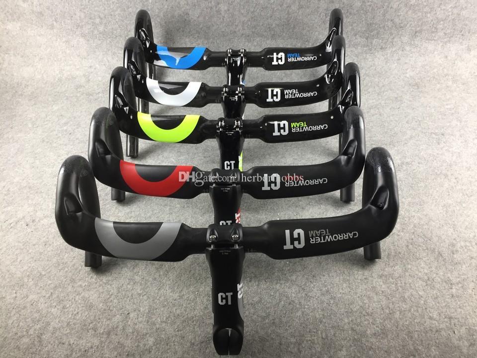 Carrowter C10 kolvägshandtag + stam full kolfiber Väg cykelhandtag Briangs Bike Tillbehör för cykelcyklar Storlek 400 420 440mm