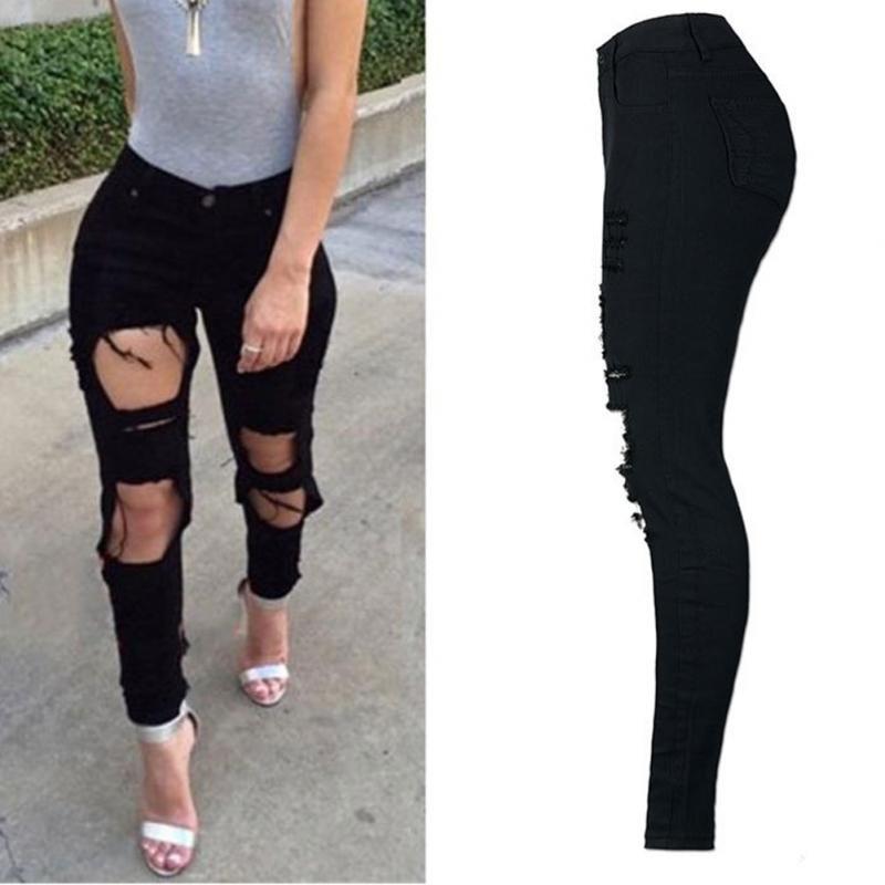 موضة جديدة 2018 العليا القطن مطاطا المرأة الأسود عالية الخصر ممزقة جينز ممزق هول الركبة نحيل سروال رصاص سليم Capris