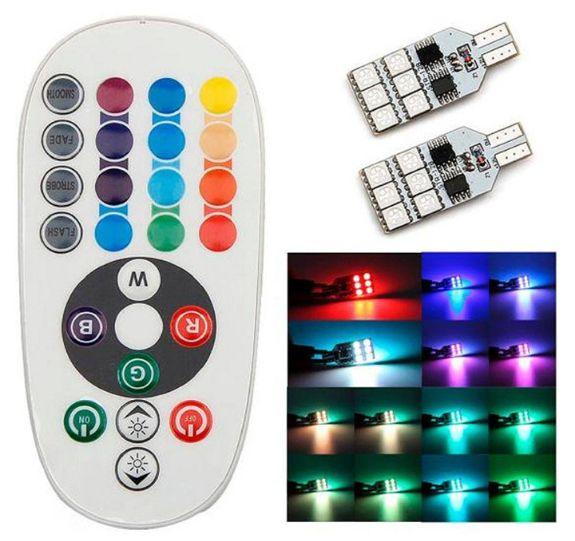 T10 Car LED Wide Light Seven Colors Remote Control RGB Marker Light Parking Lights Slide Traffic Light 5050-12SMD Indicator Lights 20PCS