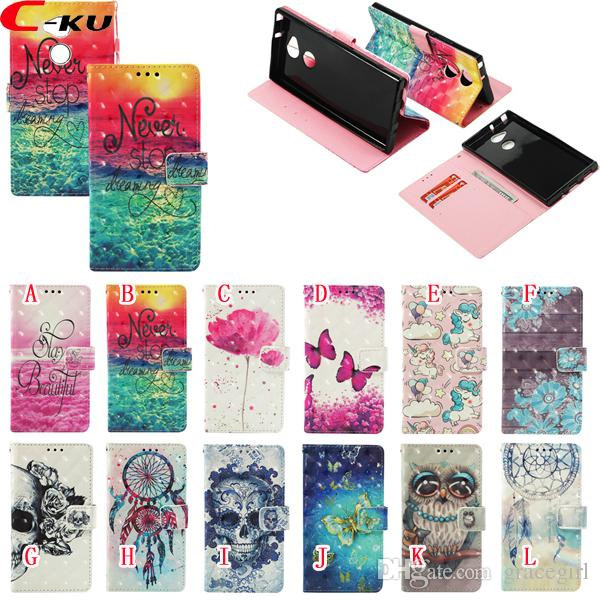 For Samsung Galaxy S10E S10 5G A9 A7 2018 J4 J6 Plus Huawei MATE 30 PRO Honor 8X Max 3D Owl Skull Leather Wallet Case Flower Stand ID Cover
