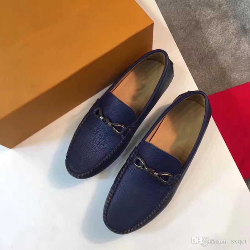 2018 New Men Designer Vestido Shoes couro genuíno metal snap sapatos de casamento dos homens preguiçosos clássico Moda Vestido Mens Shoes Big Size DHL grátis