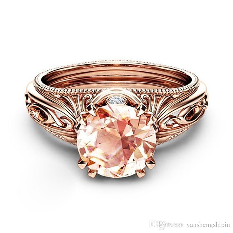 Anello di fidanzamento di nozze d'oro d'epoca tondo champagne Topaz Aquamarine Garnet 14K Rosa giallo placcato argento del regalo