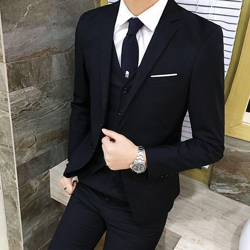 Men/'s Fashion Slim Suits  Casual Clothing Groomsman Three-piece Suit Blazers