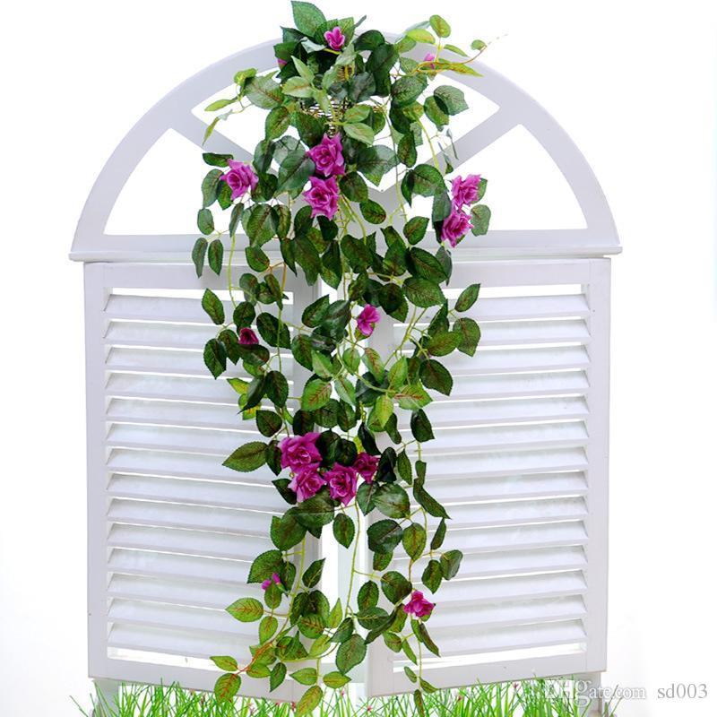 Cestas de simulación artificial Hang flor falsa Rose Vines pared de boda que cuelga follaje Flores Inicio decoración de jardín 10 35mh ii