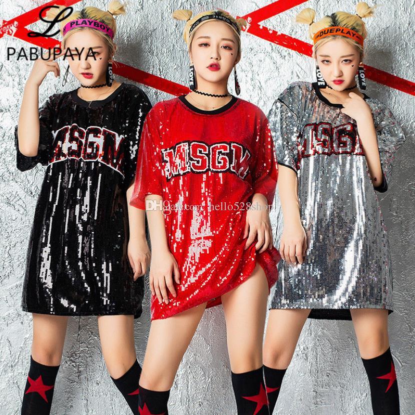 Hello528shop Womens Mektubu Desen Gevşek Uzun Gömlek Elbise Sequins Tops Performans Giyim Dans Elbise Caz Hip-Hop Kostümleri