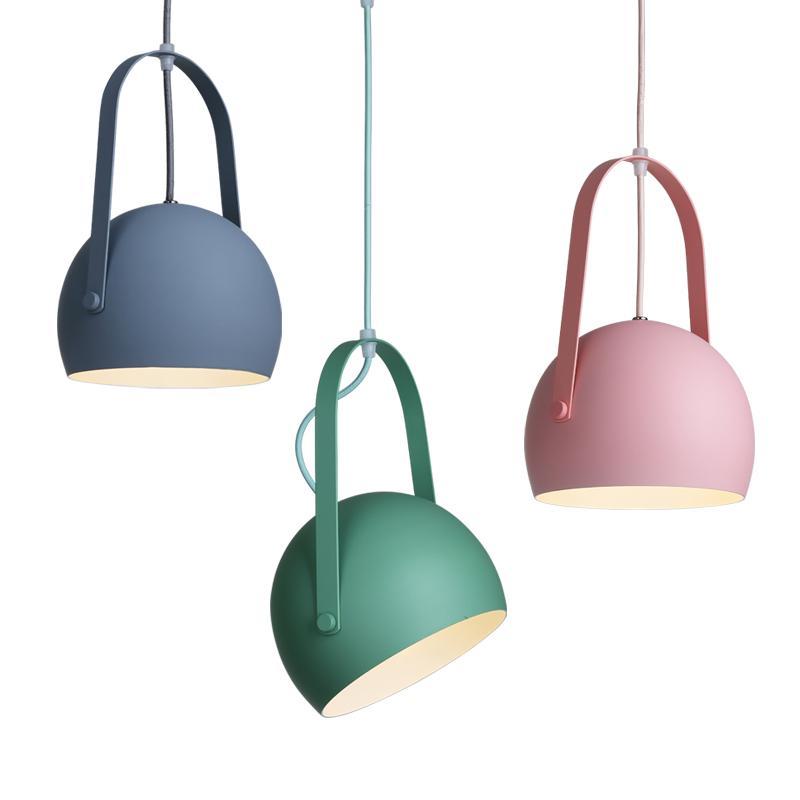 LED lampes suspendues coloré macaron en métal suspendu rose clair bleu jaune unique tête lampe pour enfants chambre chambre restaurant droplight