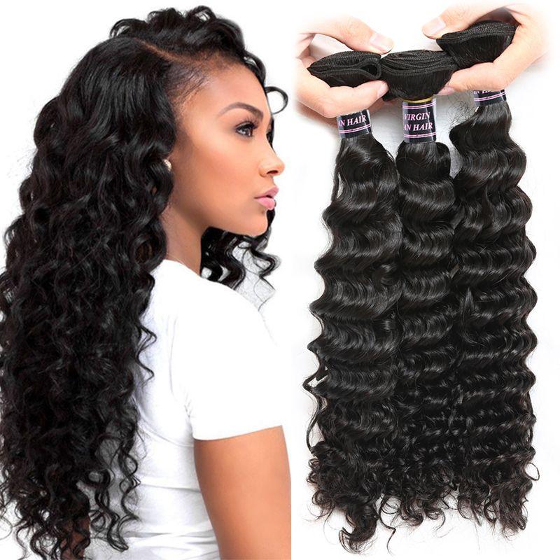 Ishow humain brésilien vierge cheveux tisser une onde profonde 3 bundles extensions de cheveux remy pour femmes filles tous âges couleur naturelle