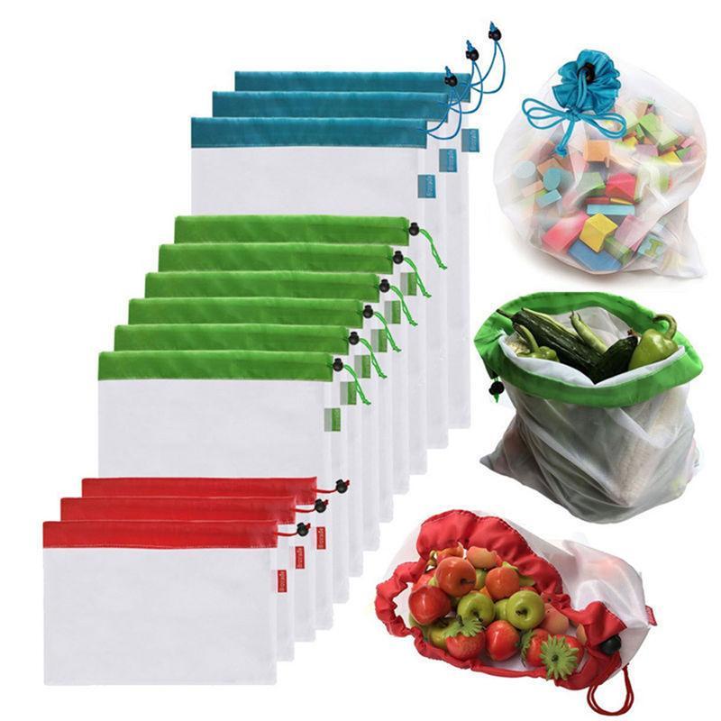 5Pack reutilizáveis produzir sacos corda preta de malha de armazenamento de legumes Fruit Brinquedos Bolsa de armazenamento Cozinha poliéster malha durável com cordão luz saco