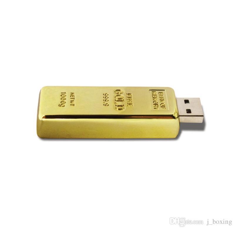 NEW Golden Bar Shape 8GB USB 2.0 Flash Drives Enough Memory Sticks Metal Thumb Pen Drive for Computer Laptop Macbook Tablet