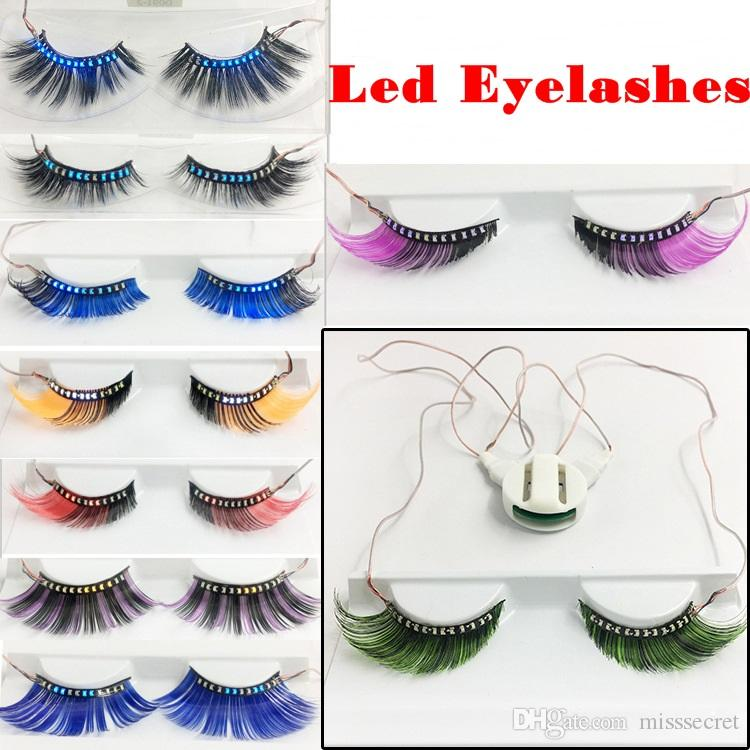 3D Led Light False Eyelashes LED Full Strip Glowing False Eyelashes Waterproof for Dance Concert Christmas Halloween Nightclub Party