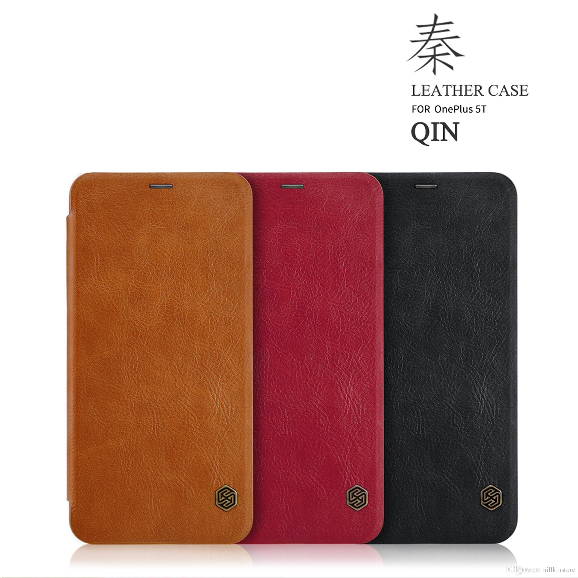 the latest 11cb1 ae339 For OnePlus 5T Case NILLKIN Qin Series Wallet Flip Cover Case For Oneplus  5T One Plus 5T Genuine Flip Leather Case Cell Phone Case Wallet Cell Phones  ...