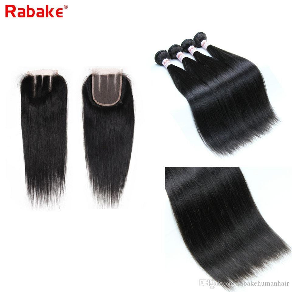 Rabakehair 9А бразильские Remy Человеческие Пучки волос с Lace Закрытие 4x4 Swiss Top Природные Extensions черный Virgin человеческих волос Wholesales дешево
