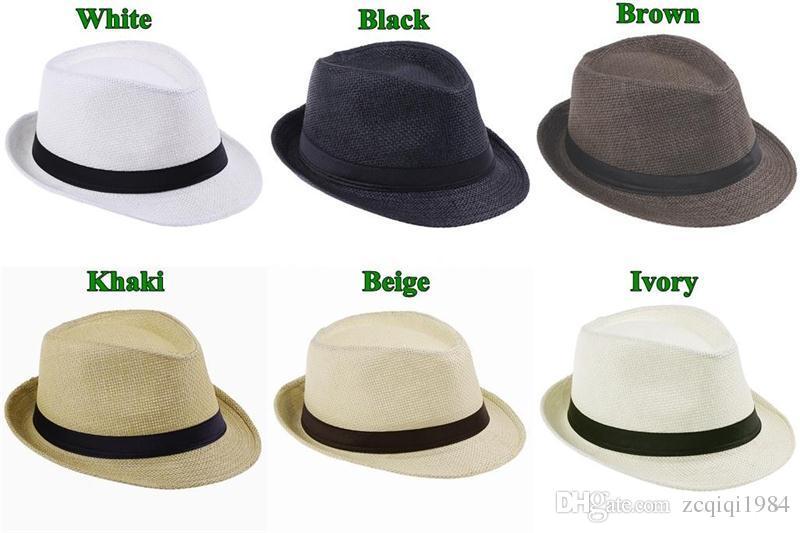 Envío gratis moda color liso Panamá sombreros de paja de Fedora suave Vogue hombres mujeres Stingy Brim Caps 6 colores elegir