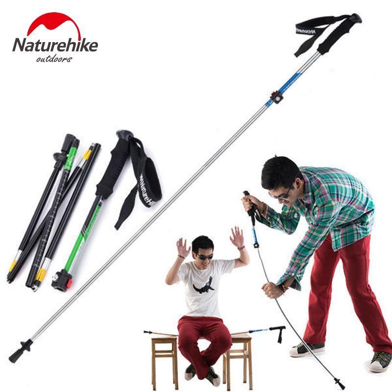NatureHike 초경량 EVA 손잡이 5 섹션 조정 가능한 지팡이 스틱 트레킹 장대 Alpenstock for Outdoor 1PCS