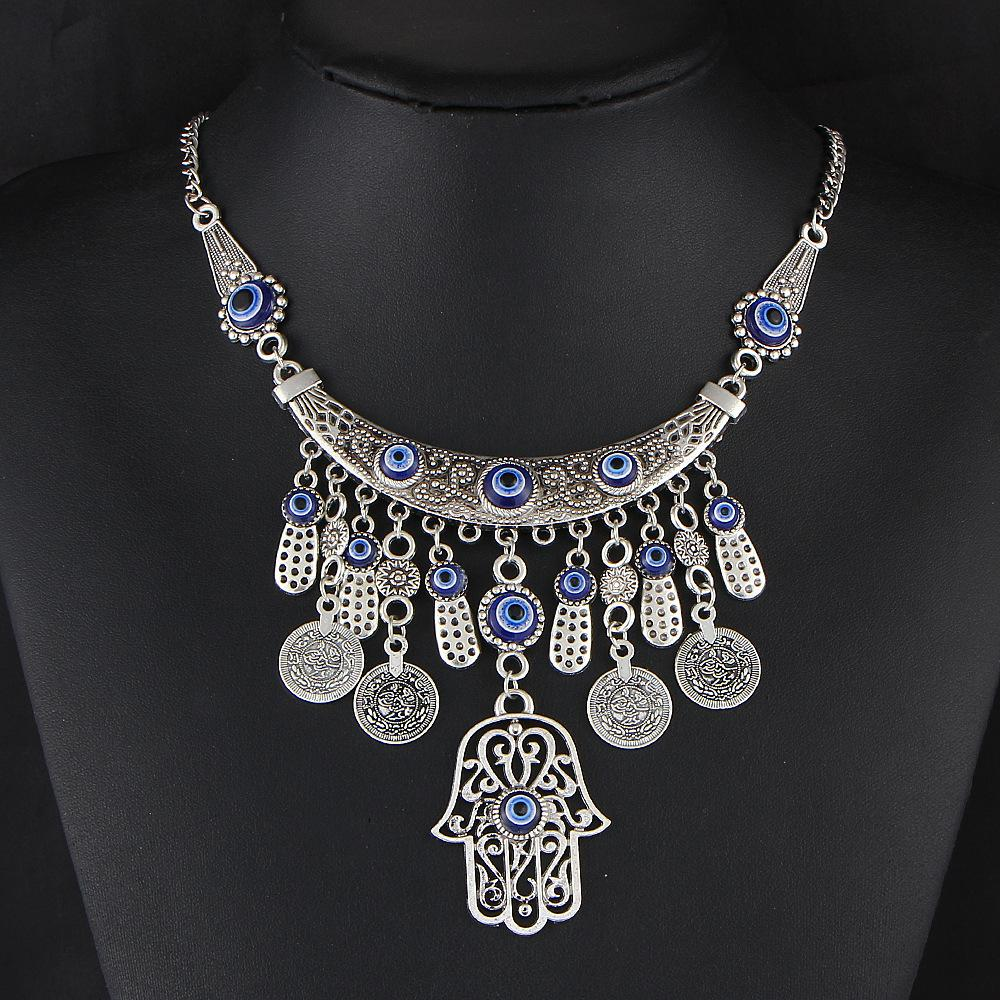 European Major Suit Restore Ancient Ways Silver Pendant Fashion Necklace Metal Nation The Wind All-match Coin Fatima Of Hand Necklace