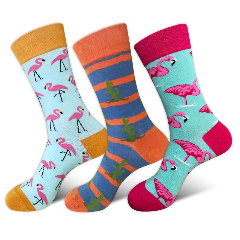 happy funny mens long Socks men Cartoon Hit Color Personality Lovers Tide Male Cotton animal Flamingo