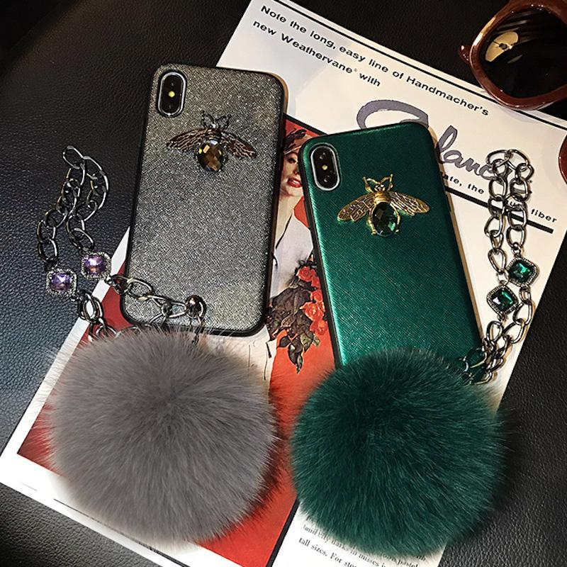 For iPhone 6 6s 7 8 plus X XS MAX XR Luxury Fashion crystal stone bee diamond chain bracelet fox furry pompom phone case cover