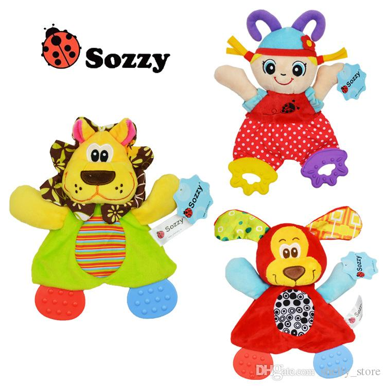 Sozzy Soft Baby Handkerchief Toy Teether Crinkle Sound Rattle Plush Toy Girl Dog Comfort Appease Playmate 20*16CM