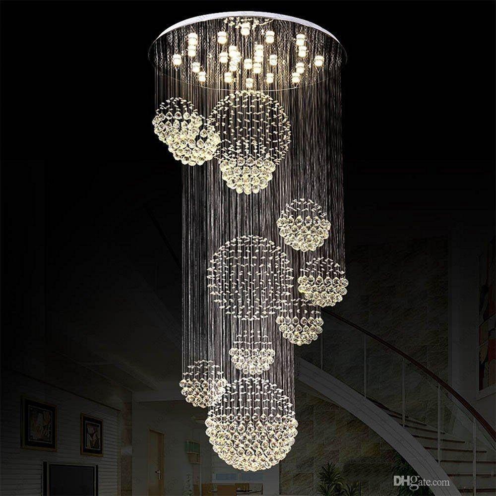 Hall D Entrée Moderne acheter nouveau lustre moderne grand luminaire en cristal pour les  escaliers du hall dentrée foyer long lustre en spirale de 405,1 € du hong58  |