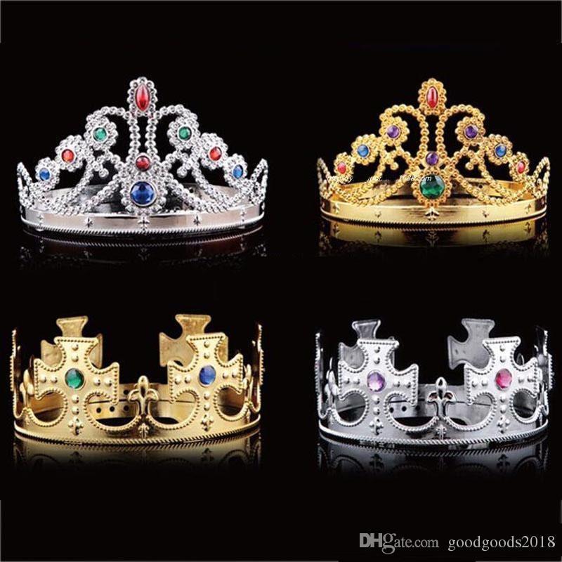 Дети короля Королева Принцесса Tiara Хрустальная корона Hairband головной убор для детей День девочек Для мальчиков Рождество товары для вечеринок c566