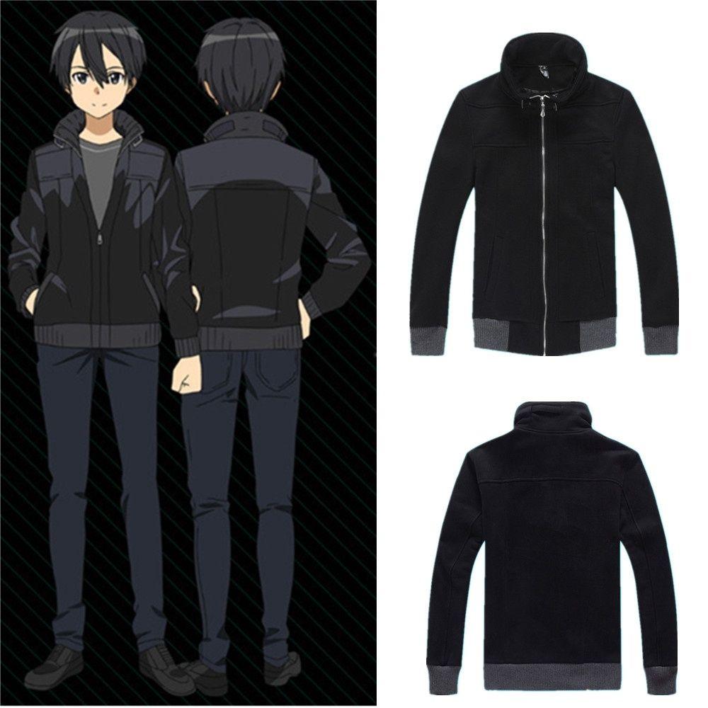 Asya Boyutu Japonya Anime Sword Art Online Kirigaya Kazuto Cosplay Kostüm Siyah uzun Kollu Ceket Kaban