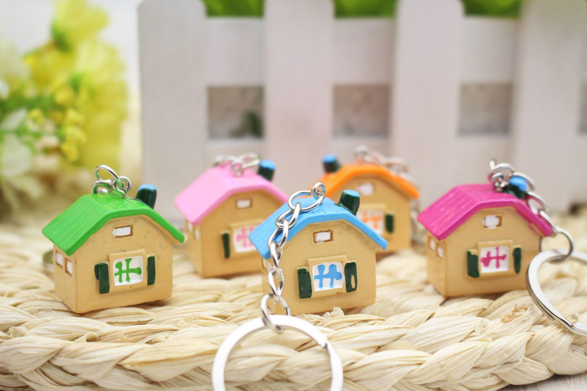 وصول جديدة لطيف ورائعة سلسلة مفتاح البيت الإبداعية أكياس الهدايا قلادة والاكسسوارات لون المزيج