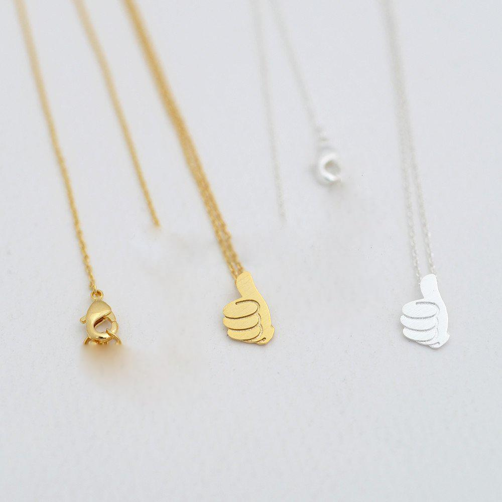 Fashion thumb pendant necklace Thumbs-up praise good plated necklaces Praise others gesture pendant necklaces for women