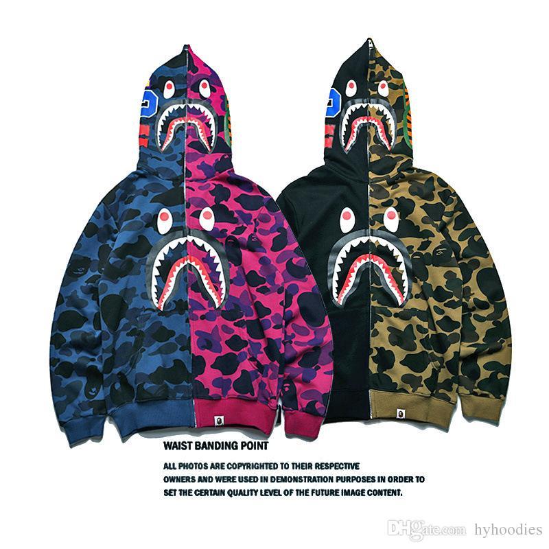 Nova Streetwear Moda Marca Tubarão Costura Camo Com Zíper Camisola Adolescente Personalidade Hip Hop Casaco de Algodão Casuais