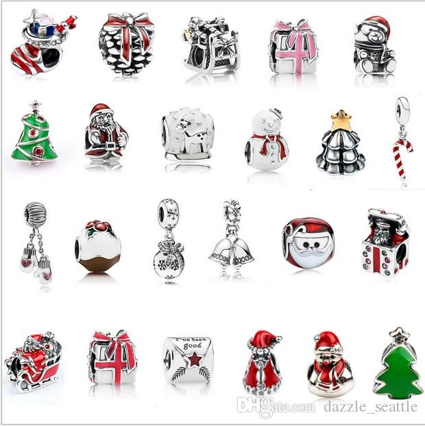 Pandora Christmas Charms.2019 Wholesale Mixed Christmas Charm Sterling Silver European Charms Bead Big Hole Fit Pandora Bracelets Snake Chain Fashion Diy Jewelry From