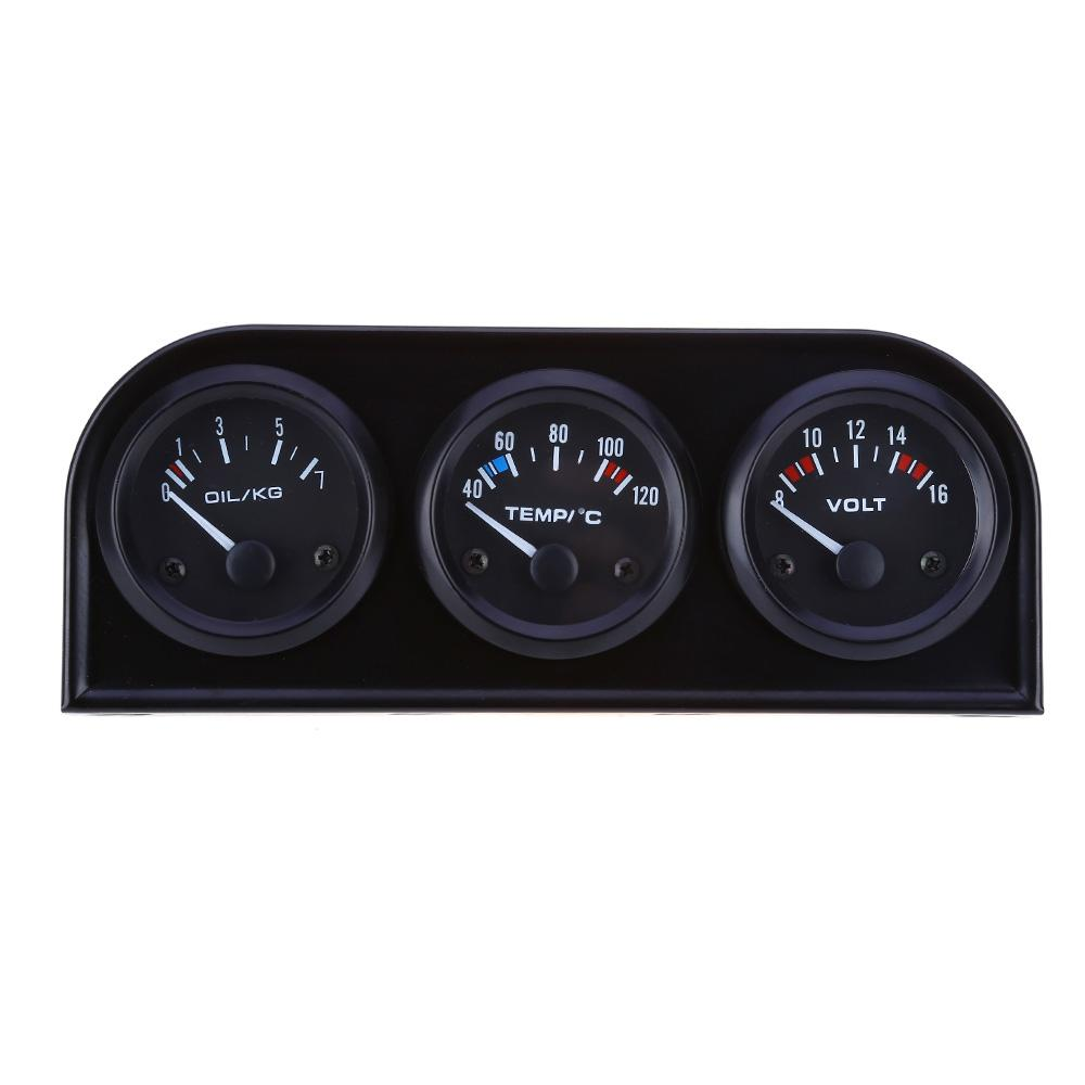 3in1 12V Car Water Temp Gauge 52MM Racing Oil Pressure Meter Voltmeter With Sensor Triple kit Auto Electronic Gauge Accessory NB