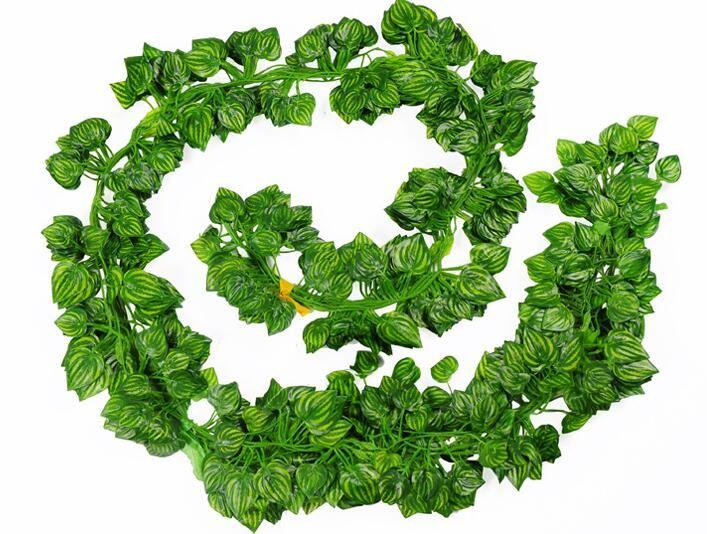 Simulation Green Leaves Fake Vine Lifelike Evergreen Cane Artificial Flower Ivy Leaf Wedding Home Decor Fashion Wall Hanging