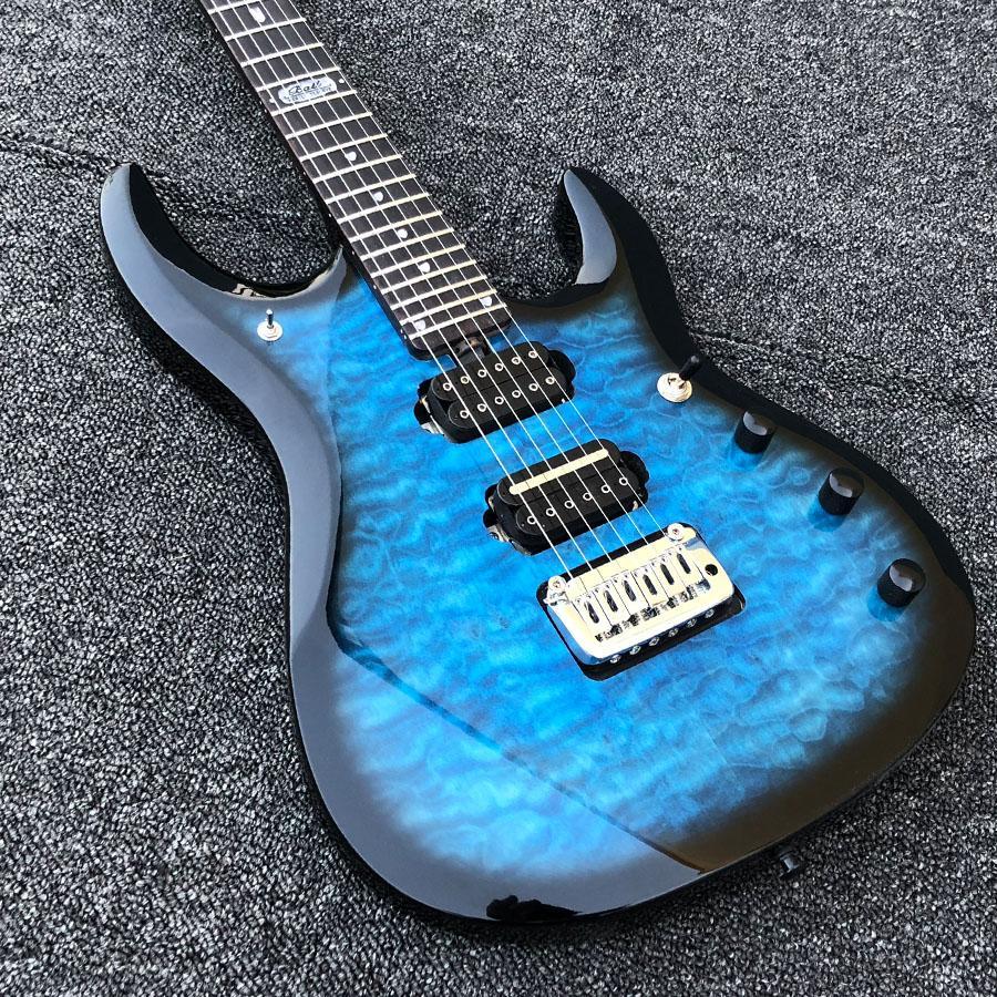 JP6 Musicman 레이크 블루 퀼트 메이플 최고 품질의 HH 코일 스플릿 피 쿠퍼 잠금 튜너 일렉트릭 기타 무료 배송
