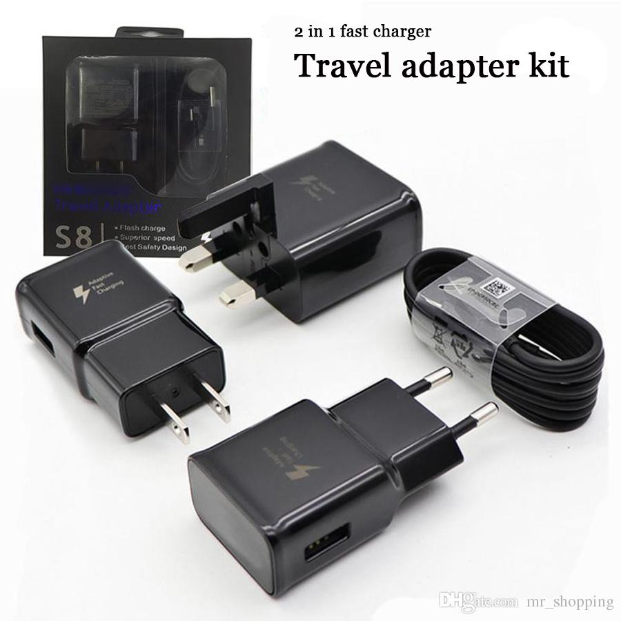 OEM s8 fast charger kit 9v1.67A 5v2A power dock travel adapter wall charger charging kits EU US UK AU PLUG for samsung huawei VIVO OPPO